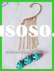 Lastest fashion Gold plated Multistrand Chains Blue Skull Dangle ear hook