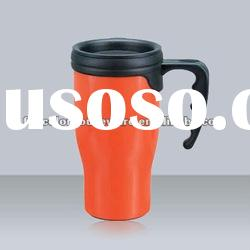 Plastic double wall coffee mug with handle