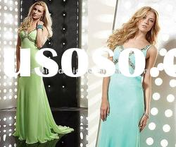 TE-52 2011 Courtlike full of big stone spaghetti strap green chiffon floor length Evening dress