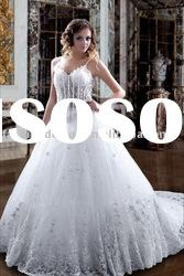 VH119 latest gorgeous spaghetti strap beaded lace ball styles with long trail wedding dress