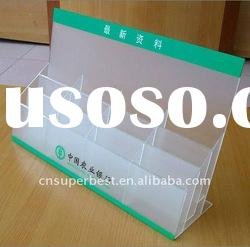 custom various size and shape clear acrylic brochure holder with 3 tiers