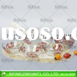 hot selling glass salad bowl set with sprayed