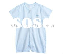 short sleeve cotton blue baby romper