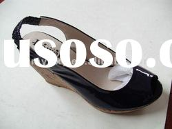 upper genuine leather black roman style vintage ladies shoes and sandals