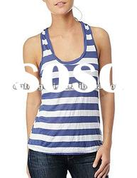 100% cotton womens stripped racer back tank top