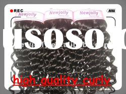 100% human remy hair weft black curly hair extension