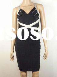 2011 Fashion Evening Dress,Black With Grey Piping Cross Bandage Dress H041