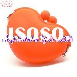 2012 lovely heart shape silicone rubber wallet
