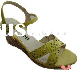2012 name brand leather wedge shoes ladies fashion sandals