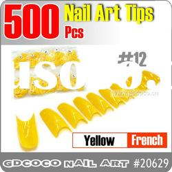 20629-12#500pcs False Yellow French Fake Nail Art Acrylic Tips 0-10#