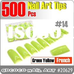 20629-14#500pcs False Green Yellow French Fake Nail Art Acrylic Tips 0-10#