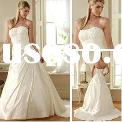 AM1461 HOT SELLING IVORY STRAPLESS TUBE TOP TAFFETA NEW A LINE WEDDING DRESS