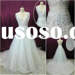 A-line straps Vneck beaded sequined tulle wedding dress with long train SW83