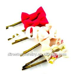 Costume delicate fashion jewelry alloy cloth bowknot hair clips