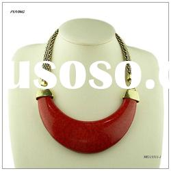 Hot Saler Fashion Big Red Resin Zinc Alloy Necklace,Fashion Hot Sale Jewellery