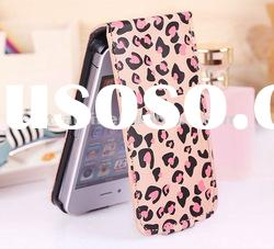 Leopard Print Luxury Leather Case Cover for iphone 4