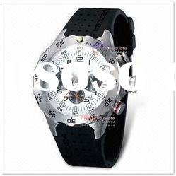 Men's Sports Watch with Silicone Band and Stainless Steel Case