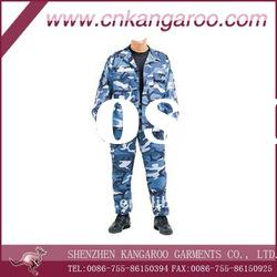 Men's T/C rip stop blue camouflage with 4 pockets BDU military uniform for US army