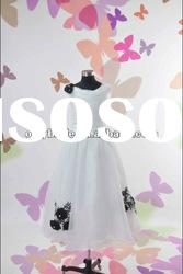 OL5640 Real Sample Cute Sleeveless Organza Skirt Flowers Lace Layers Flower Gril Dress