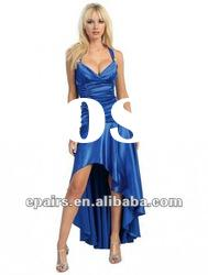 PD350 Royal Blue Halter Empire Ruffled High Low Angel Prom Dresses