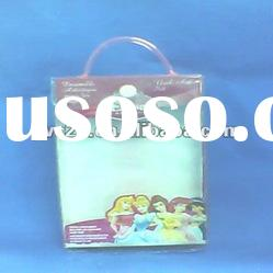 PVC hot sell and fashion plastic cosmetic handle bag with button