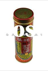 Small round metal tin for massage oil