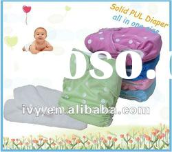 Solid PUL baby cloth diaper with one row buttons