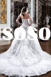 VH117 latest gorgeous strapless full crystals beaded lace organza with long trail wedding dress