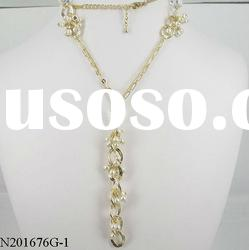 fashion gold long chain pearl necklace