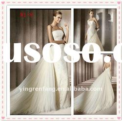 new tide fairy fantastic A-line tulle satin appliqued lace strapless satin wedding dresses W1-7