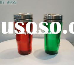 plastic outside and stainless steel inside new style mug(HY-A059) with green and red color