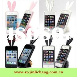 rabbit ear silicone case for iphone 4s