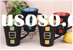 red/yellow/blue and green glaze espresso mug