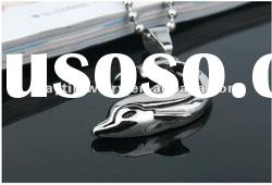 silver dolphin stainless steel charm pendant with ball bead chain
