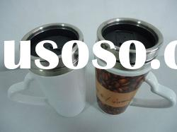 stainless steel inner porcelain outer double wall coffee cup