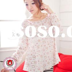 sweet round neck flower patterned long sleeved cotton pink nightshirt