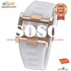 white silicone watch with square case