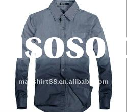 2011 latest omber stripes 100% cotton slim fit casual shirt for men