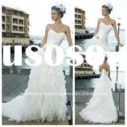 2012 Beach Style Ivory Unique Design Tulle Summer Wedding Dress