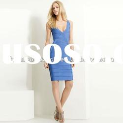 2012 Blue Deep V Neck Strap Dress,Fashion Party Evening Dress DH183