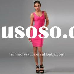 2012 Pink V Neck Fashion Lady Party Evening Dress DH021