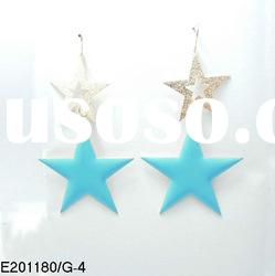 2012 korea New style blue and gold double five point star pendant earrings designs for women