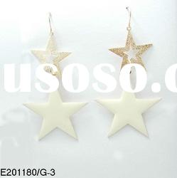 2012 korea New style white and gold double five point star pendant earrings designs for women