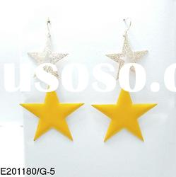 2012 korea New style yellow and gold double five point star pendant earrings designs for women