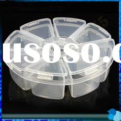 8 Separate Rooms Round shape Nail art Empty Plastic Box