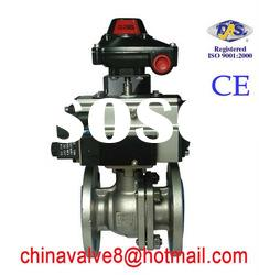 CE, ISO 2pc stainless steel flanged spring return pneumatic valve
