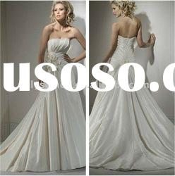 Comfortable A-line Pleated Strapless Taffeta High Quality Wedding Dress