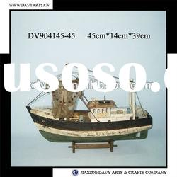 Decorative wooden model fishing boat