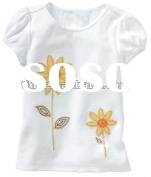 Embroidery White toddler T shirt baby clothes kids shirt