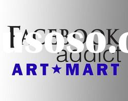 FACEBOOK ADDICT Wall cut vinyl ART Decal Sticker QUOTE, Vinyl Wall Sticker NO.843